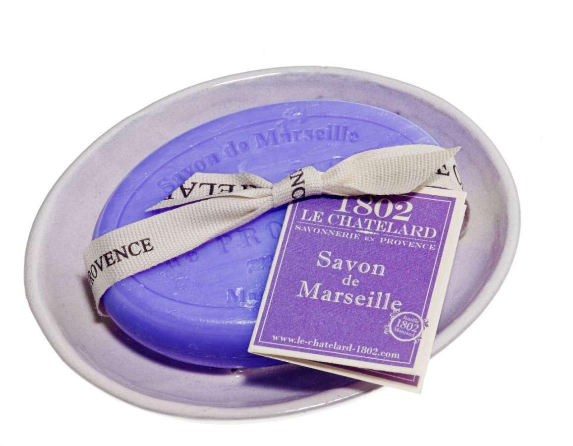 Le Chatelard Levandulové mýdlo s mýdlenkou - ovál