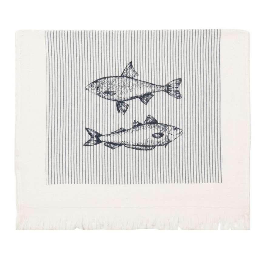Clayre & Eef Kuchyňský ručník Boat and Fish 40 x 60 cm