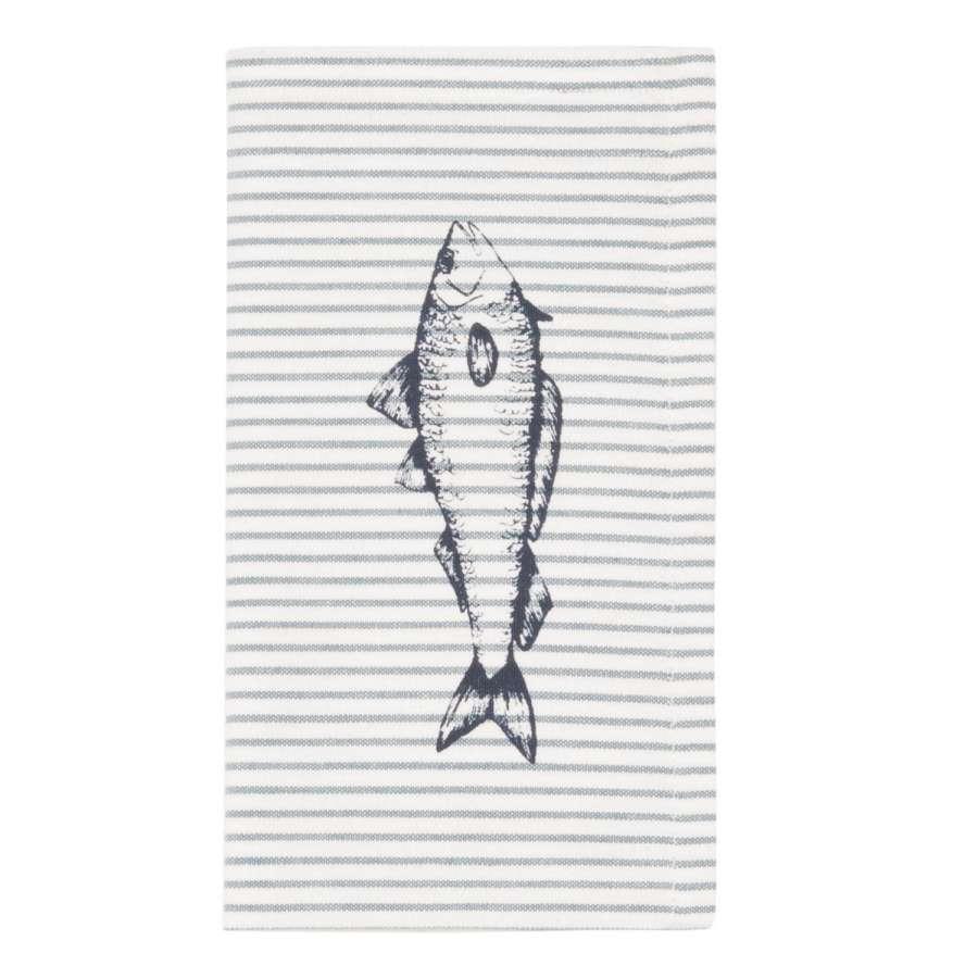 Clayre & Eef Látkové ubrousky Boat and Fish 40 x 40 cm - sada 6 kusů