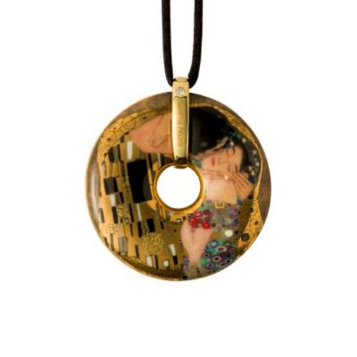 Goebel Náhrdelník 5 cm, porcelán, Polibek, G. Klimt