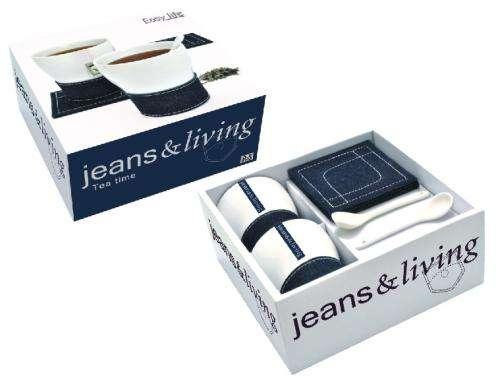 Nuova R2S Dárkový set jeans 2x hrnek 400ml