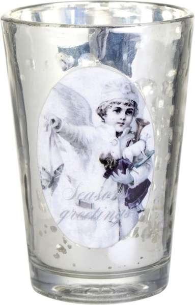 Lene Bjerre Vánoční skleněný svícen na čajovou svíčku s andělem ANGIE 9 cm
