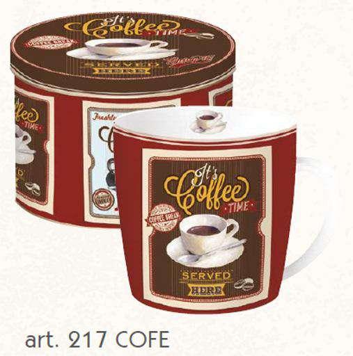 NUOVA R2S Porcelánový hrnek 300ml s dekorem Kávy v plech. boxu - VINTAGE COFFEE