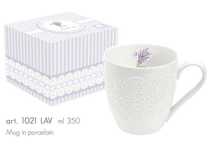 NUOVA R2S Porcelánový hrnek 350ml s dekorem v boxu - LAVANDE