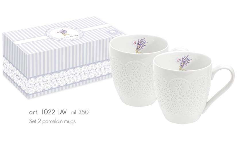 NUOVA R2S Sada 2ks porcelánových hrnečků 350ml s dekorem v boxu - LAVANDE