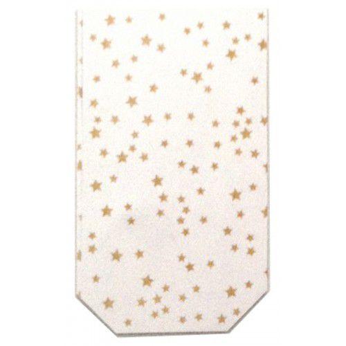 Celofánový sáček čirý s potiskem malých zlatých hvězdiček 18 x 30 cm
