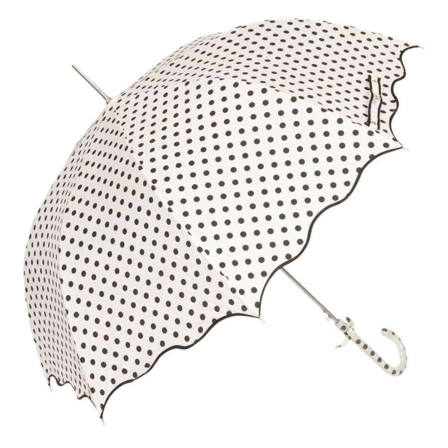 Clayre & Eef Automatický deštník s puntíky, bílý Ø Ø 90x93 cm