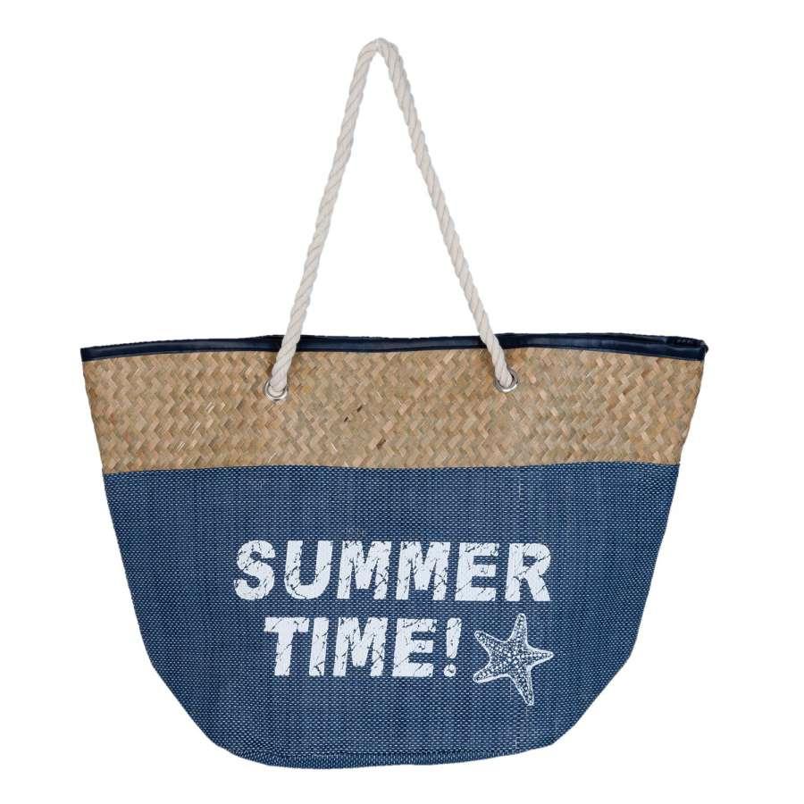 Clayre & Eef Nákupní taška SUMMER TIME blue 55x19x36 cm
