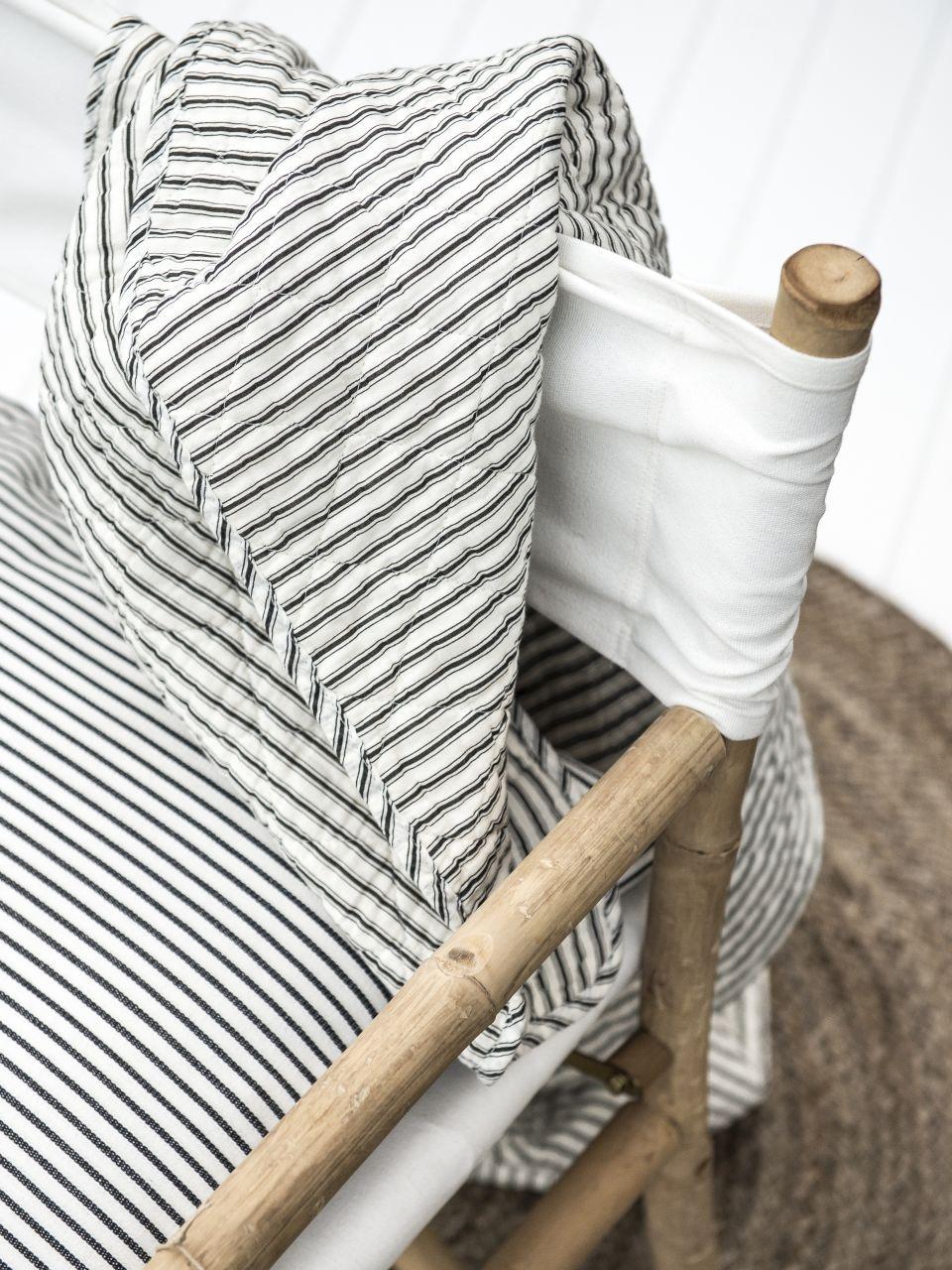 IB LAURSEN Bavlněný přehoz, deka Black Stripe 130x180 cm