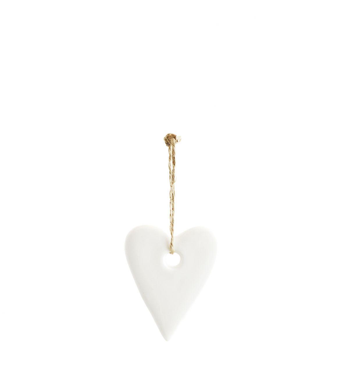 Madam Stoltz Závěsné porcelánové srdce White Heart