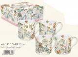 Sada 4ks porc. hrnečků 350ml s dekorem v boxu - PARIS FOREVER