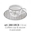 Porcelánový šálek s podšálkem 110ml s dekorem - URBAN CHIC BLACK
