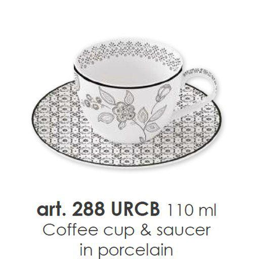 NUOVA R2S Porcelánový šálek s podšálkem 110ml s dekorem - URBAN CHIC BLACK
