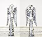 Plechový anděl se srdíčkem a krajkou 16,5 cm