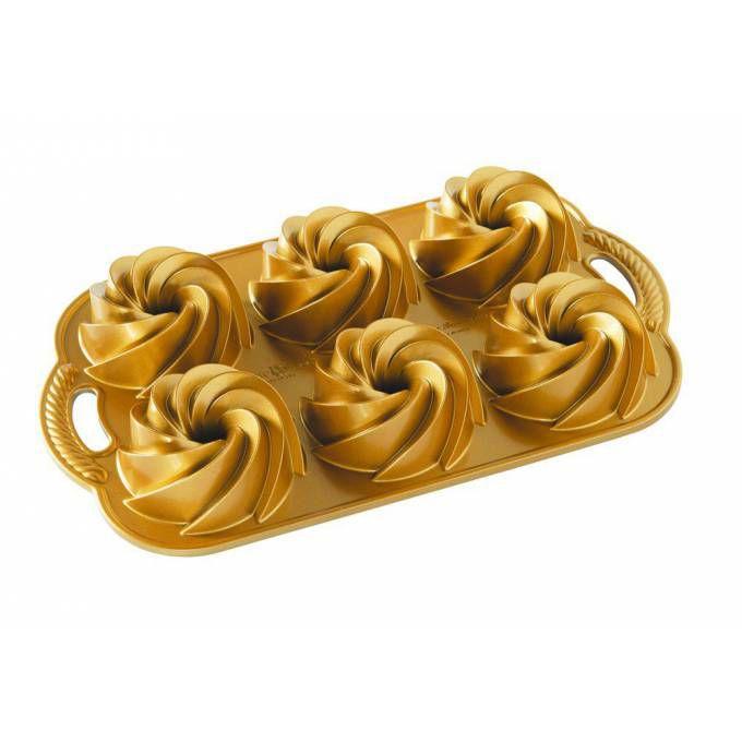Nordic Ware Forma na zákusky a mini bábovky, mini Rondo zlatá