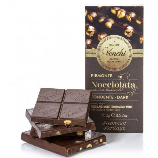 Venchi hořká čokoláda s celými lískovými oříšky 100g