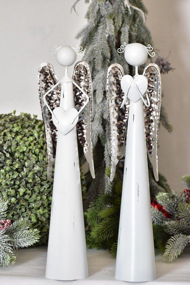 Plechový anděl bílý stříbrná křídla, rozměry 50 cm