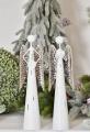 Plechový anděl bílý stříbrná křídla 30 cm
