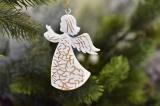 Anděl na zavěšení bílo-zlatý 9,5 cm