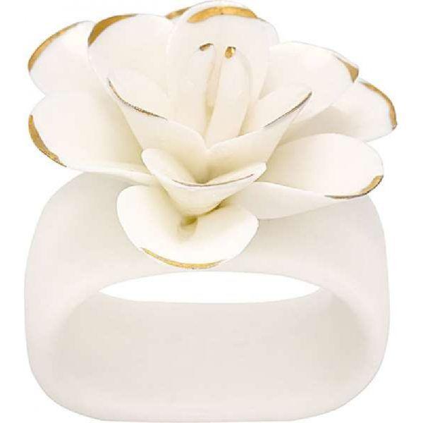 Green Gate Kroužek na ubrousek Flower white w/gold