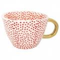 Porcelánový hrnek Dot red w/gold