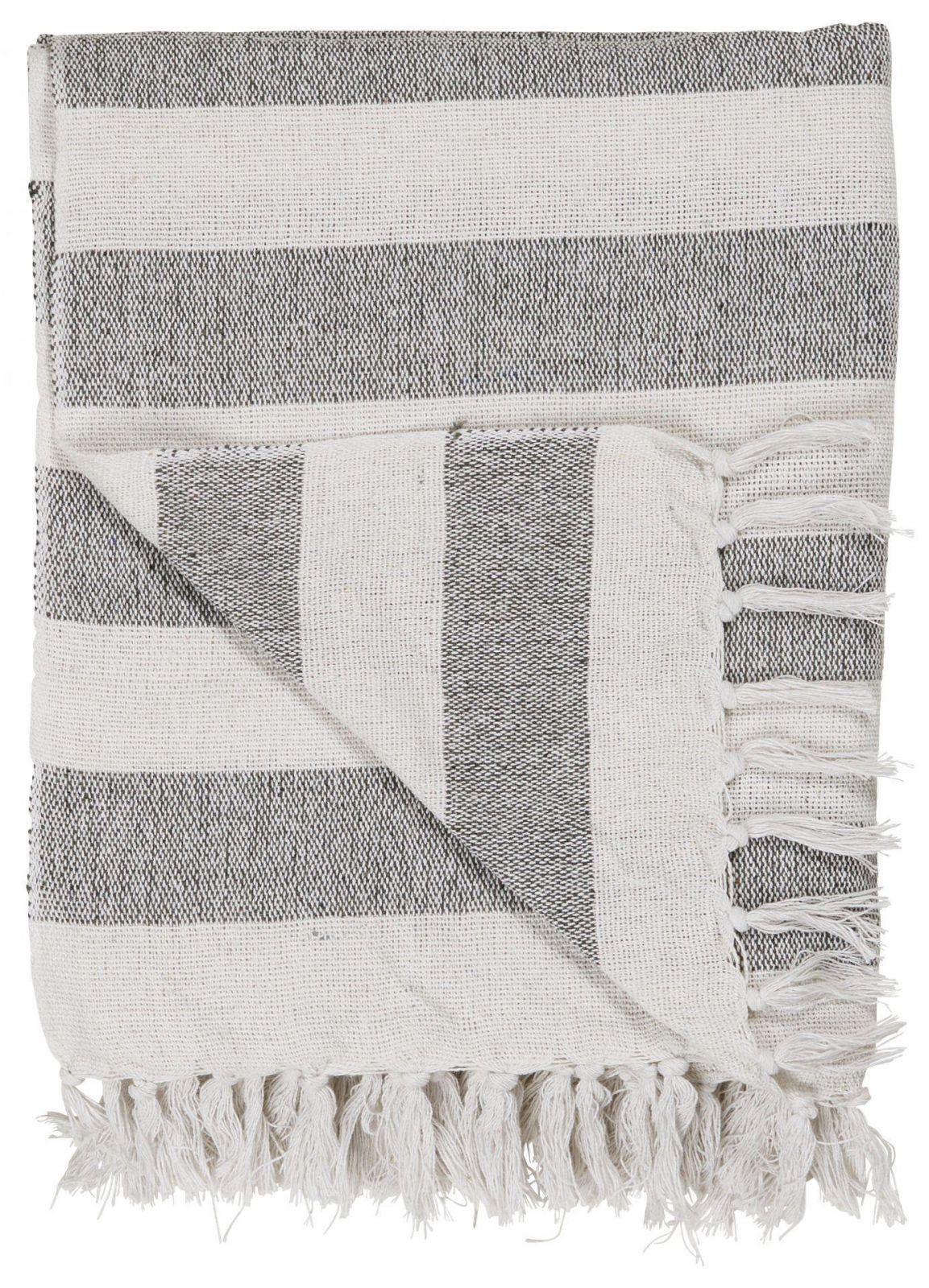 IB LAURSEN Bavlněný přehoz Black Stripes 130x160 cm