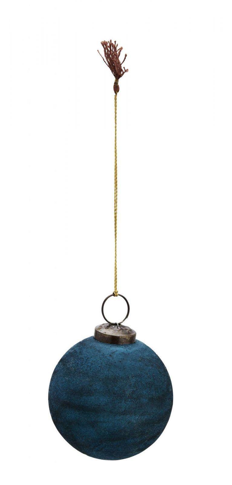 Madam Stoltz Vánoční baňka Velvet Blue 7cm