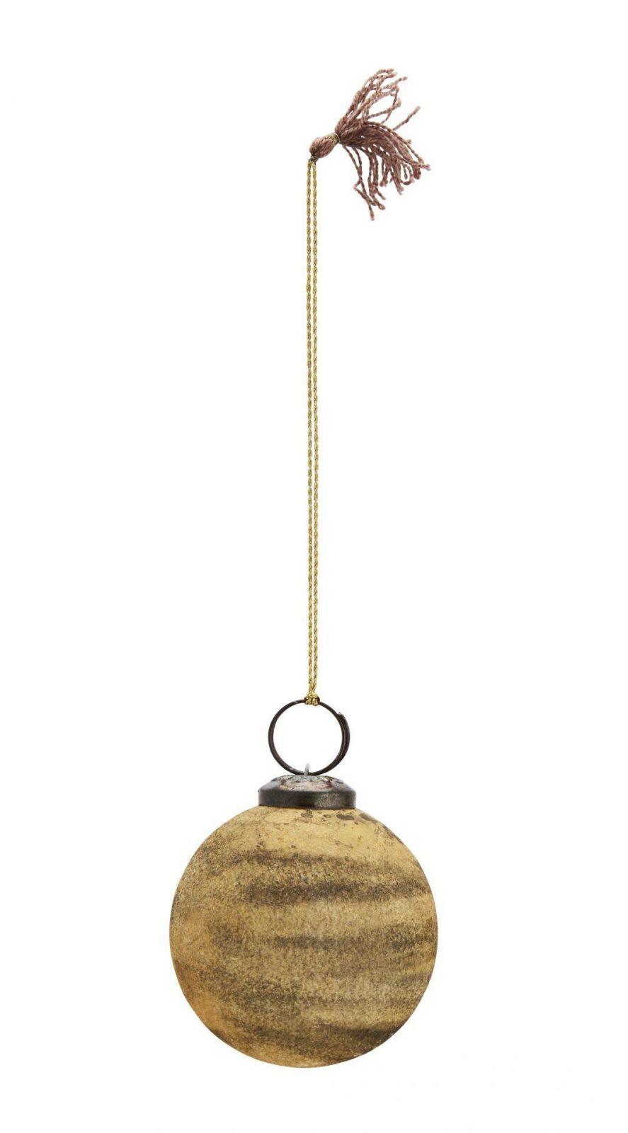 Madam Stoltz Vánoční baňka Velvet Mustard 5,5cm