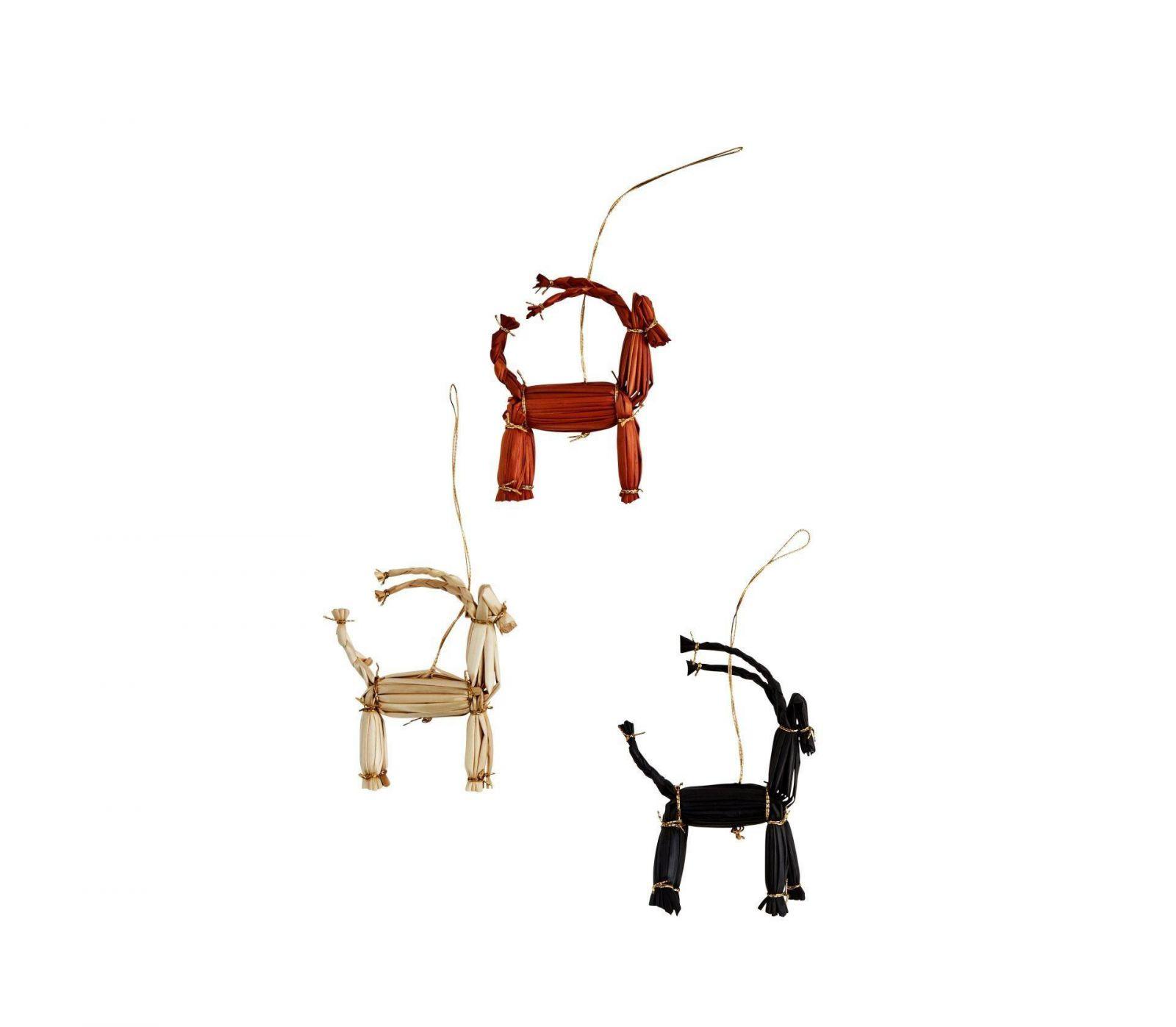 Madam Stoltz Vánoční slaměná ozdoba koza - set 6ks