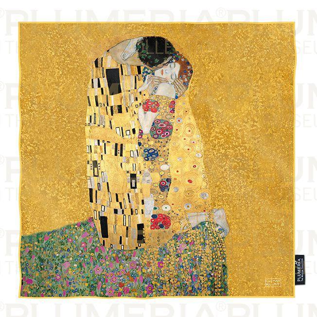 Plumeria Hedvábný šátek The Kiss Gold Gustav Klimt 3d3e032b31