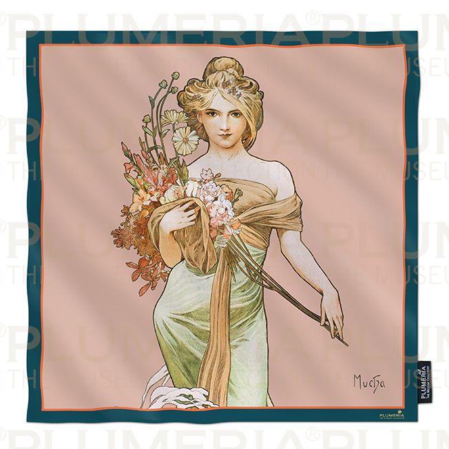 Plumeria Hedvábný šátek The Seasons: Spring Alfons Mucha