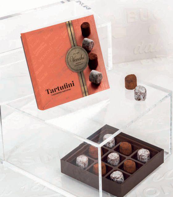 Venchi výběr bezlepkových čokoládových pralinek Truffle, box 90g