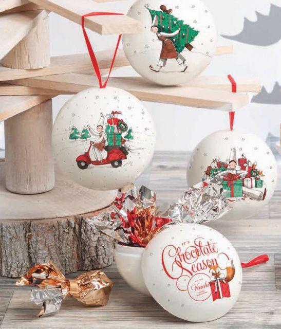 Venchi vánoční plechová baňka s čokoládovými pralinkami 48g