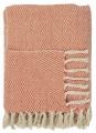 IB LAURSEN Bavlněný přehoz Cream & Orange 130x160 cm
