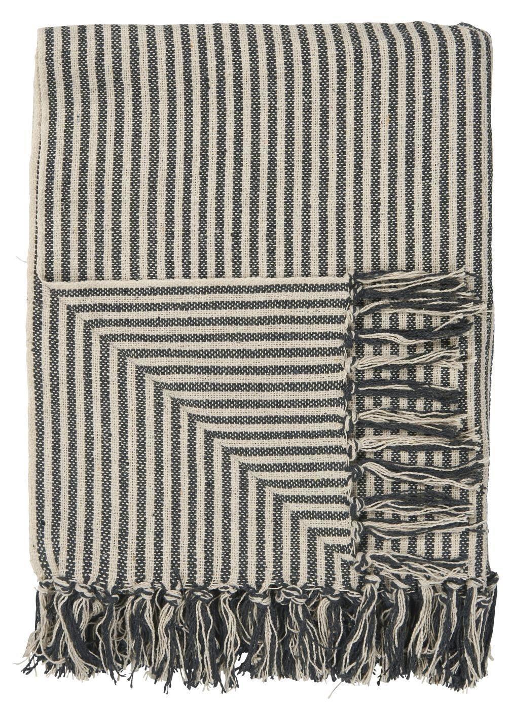 IB LAURSEN Bavlněný přehoz Wide Black Stripes 130x160 cm