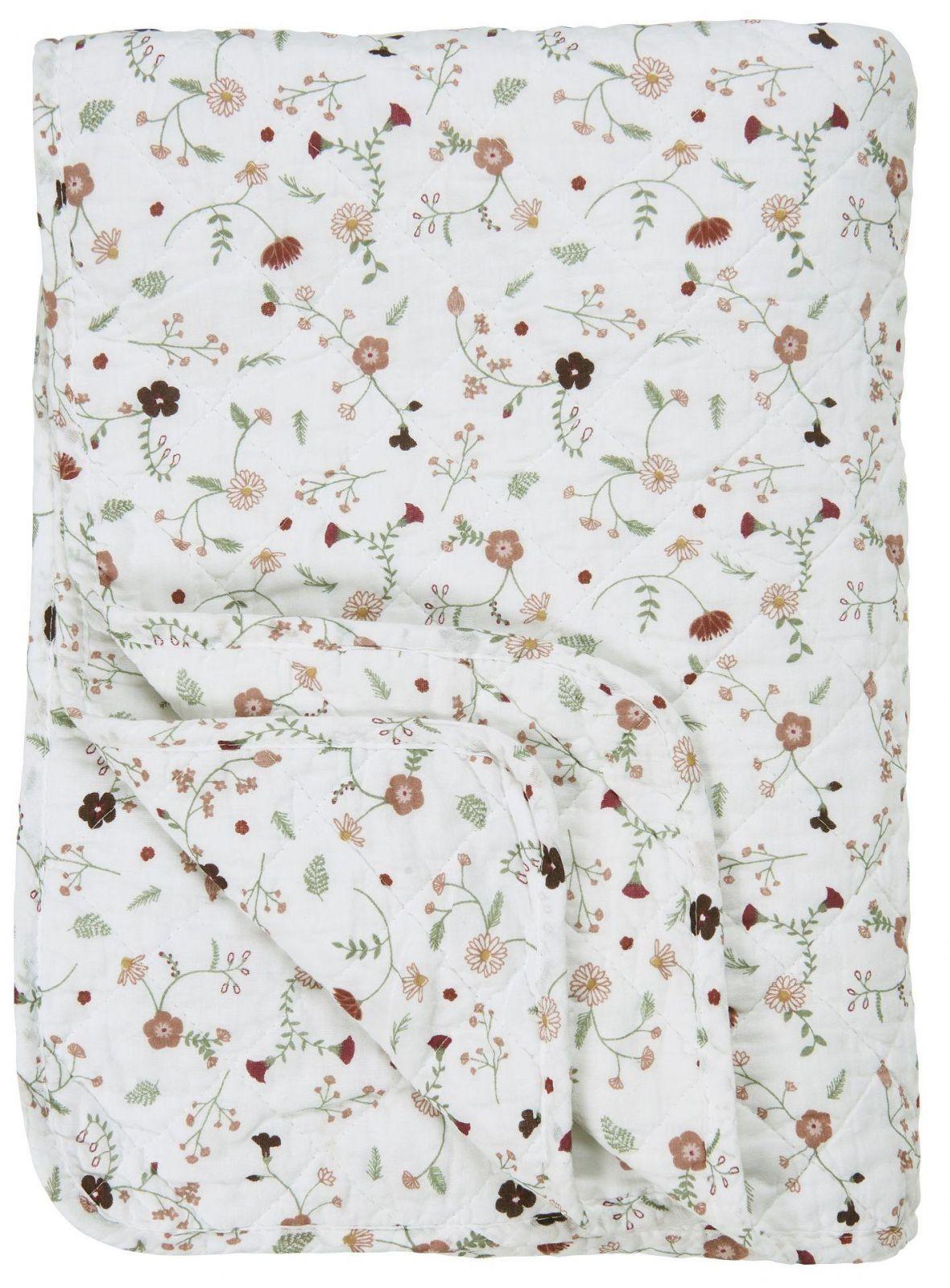 IB LAURSEN Prošívaný bavlněný přehoz Rose Wild Flowers 130x180