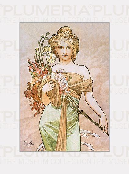 Plumeria Reprodukce obrazu The Seasons: Spring Alfons Mucha