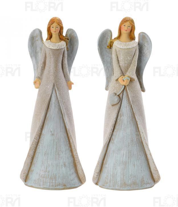 Dekorativní anděl šedá křídla mix 20cm