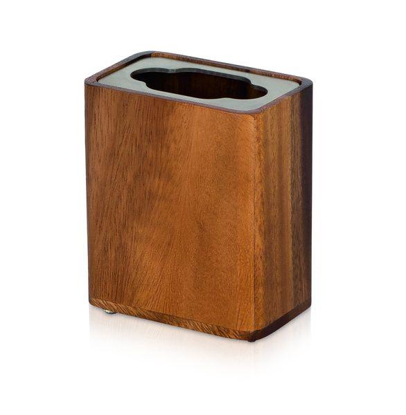 Möve Dóza na kartáčky z akátového dřeva WOOD 9 x 5,5 x 10 cm