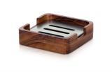 Podložka pod tuhé mýdlo z akátového dřeva WOOD 10 x 10 x 3 cm