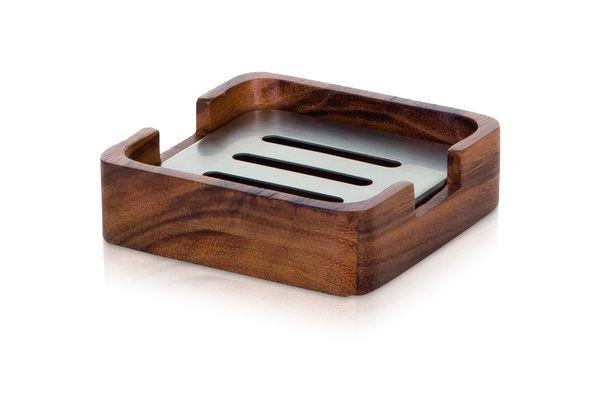 Möve Podložka pod tuhé mýdlo z akátového dřeva WOOD 10 x 10 x 3 cm