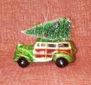 Vánoční ozdoba autičko se stromečkem green 11 x 8 x 5 cm
