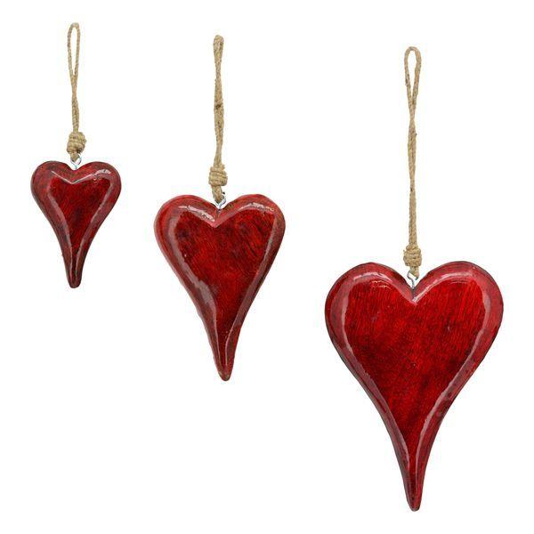 Exner Velké závěsné dřevěné srdce red 20x14x2 cm