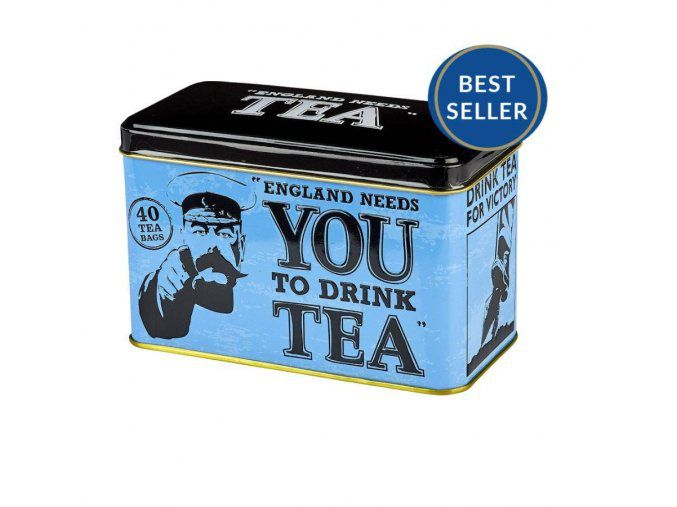 NEW ENGLISH TEAS ČAJ PLECHOVKA RS23, 40 SÁČKŮ (80G), ENGLAND NEEDS YOU, NET
