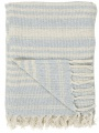 Bavlněný přehoz Cream Light Blue Stripe 130 × 160 cm
