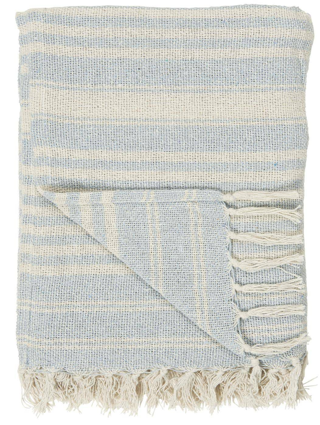 IB LAURSEN Bavlněný přehoz Cream Light Blue Stripe 130 × 160 cm