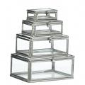 Mini skleněné krabičky Silver - set 4 ks