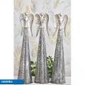 Plechový anděl Deco LED champagne-silver 63 cm, mix druhů