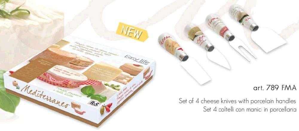 Nuova R2S Dárkový set 4 nožů na sýry s porc. rukojetí