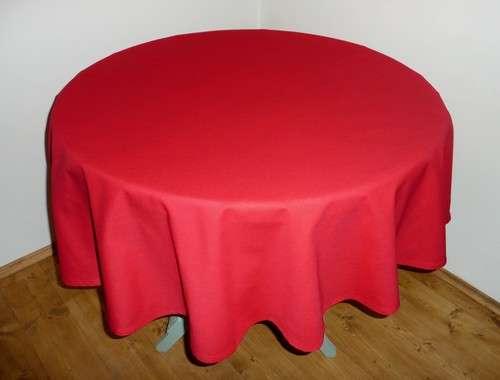 Ubrus kulatý červený 100% bavlna průměr 140 cm